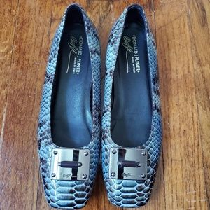 Donald J Pliner Snakeskin Blue & Brown Flats